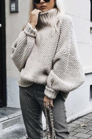 Chic Casual High Collar Long Sleeves Loosen Knitted Sweater