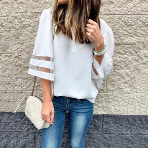 Casual V Neck Chiffon Splicing Bracelet Sleeve T-Shirt