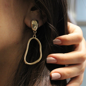 Fashion personality hollow metal alloy irregular women's earrings