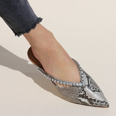 Fashion Wild Snake Point Pointed   Flat Shoes