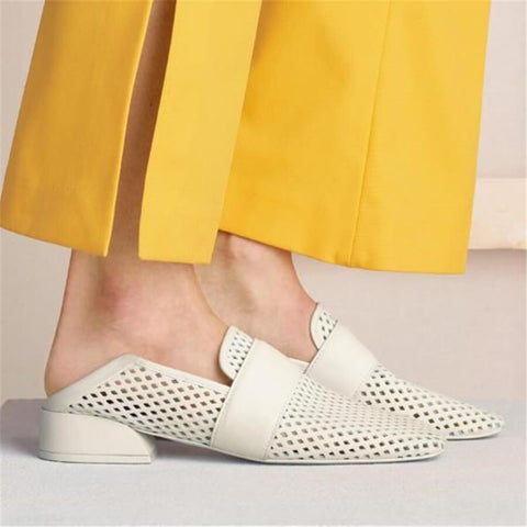 Fashion versatile hollow low   heel casual shoes
