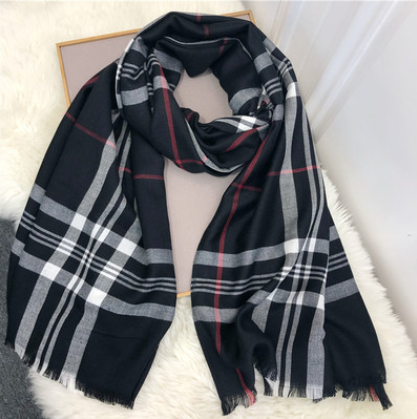 British Plaid Cotton Imitation Cashmere Scarf