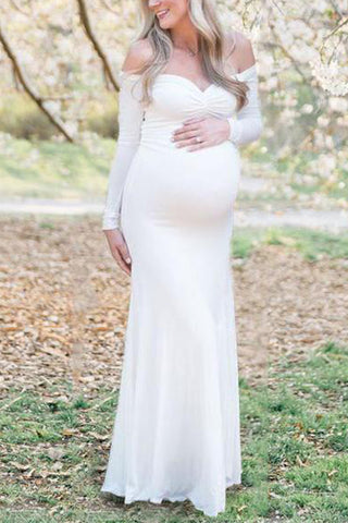 Maternity Off Shoulder Long Sleeve Dress