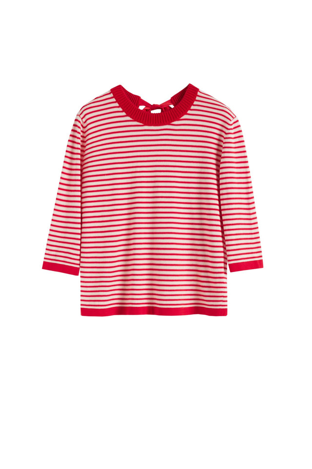 Red Cotton Striped Summer Sweater image 2