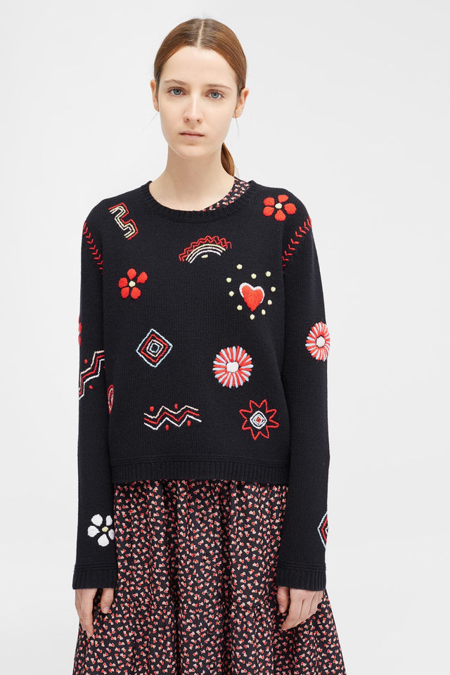 Navy Embroidered Milagro Sweater image 1