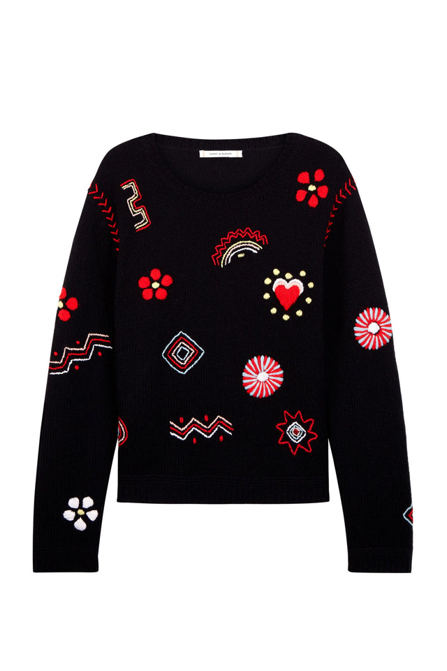 Navy Embroidered Milagro Sweater image 2