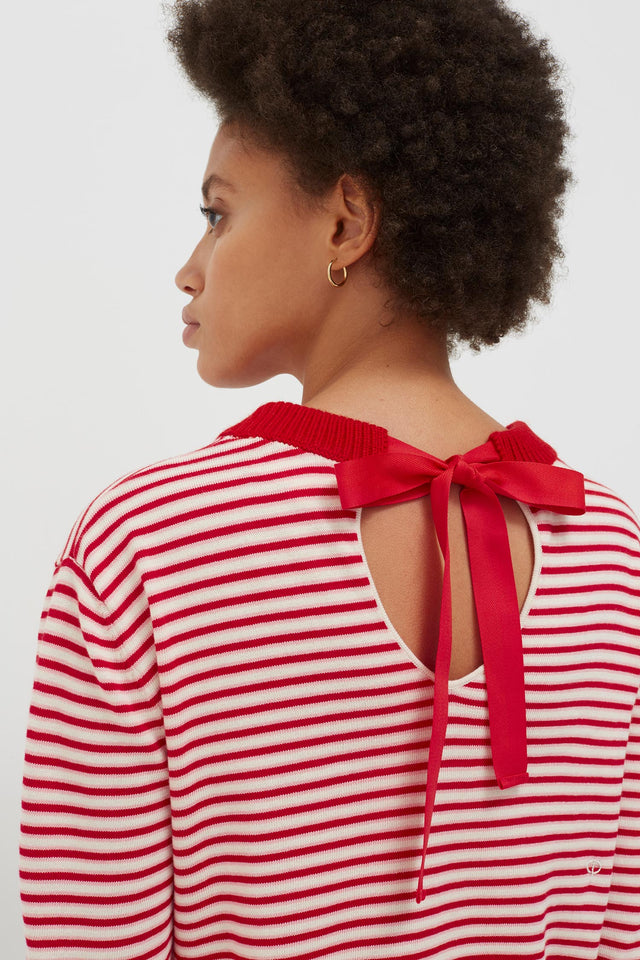 Red Cotton Striped Summer Sweater image 1