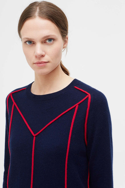 Navy Ribbon Wool Sweater