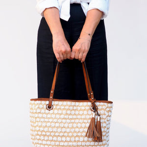 AVA - Textured Beige and White Spot Tote - Aura & Fleur