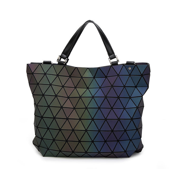 Laser Refrac Folding Fashion Shoulder Handbags - Lellasbags