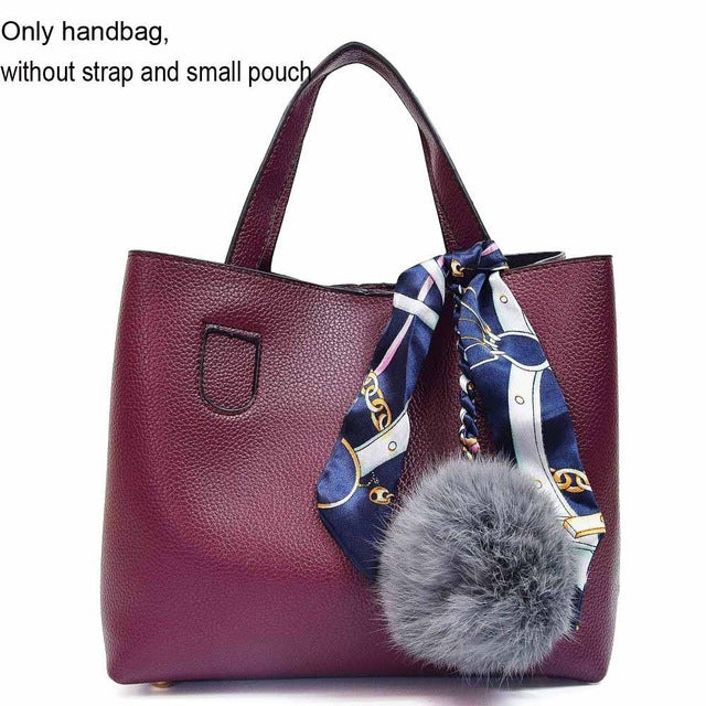 Scarf Top Handle Tote Bag with Fur Ball - Lellasbags