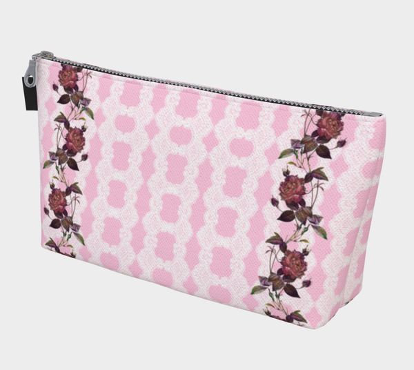 Vintage Pink Lace Roses Makeup Bag