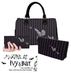 Purple Striped Damask Gray Bat Handbag Set