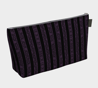 Purple Damask Striped Goth Bats Makeup Bag