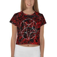 Cracked Blood Barbed Wire Pentagram All over Print Crop Tee