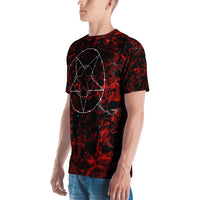 Cracked Blood Barbed Wire Pentagram All over Print Men's T-shirt