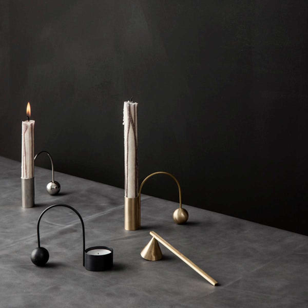 Balance Tealight Holder - Black Brass