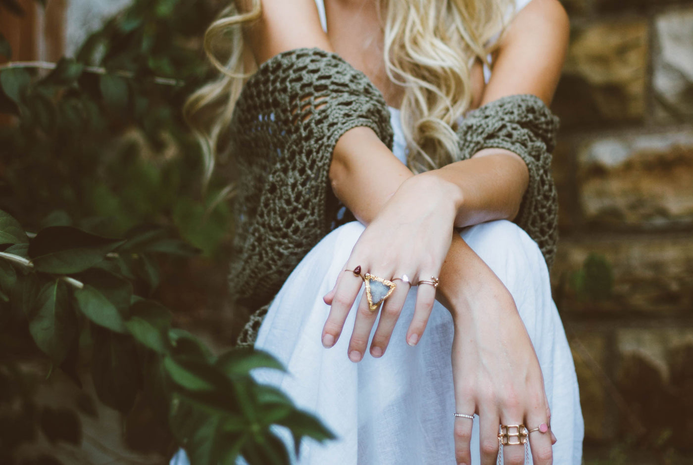 Woman's hands with custom jewelry