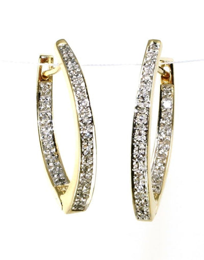 "Diamond .25ctw  ""V"" Hoop Earrings, 5997"