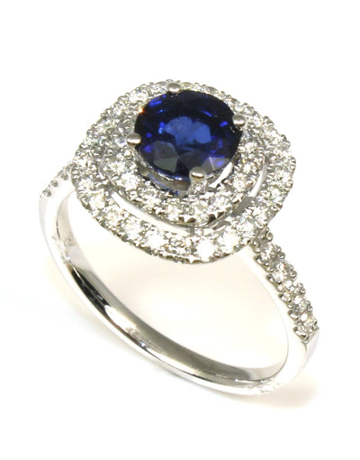 Sapphire Double Diamond Halo Ring, 6235