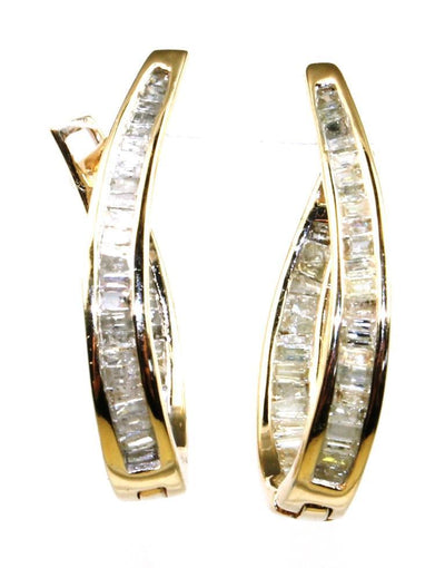 Baguette Diamond Inside/Out Hoop Earrings, 6334