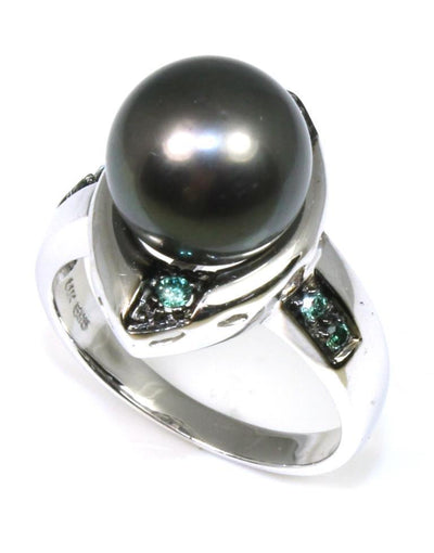 Tahitian Pearl Ring with Blue Diamonds, 6374