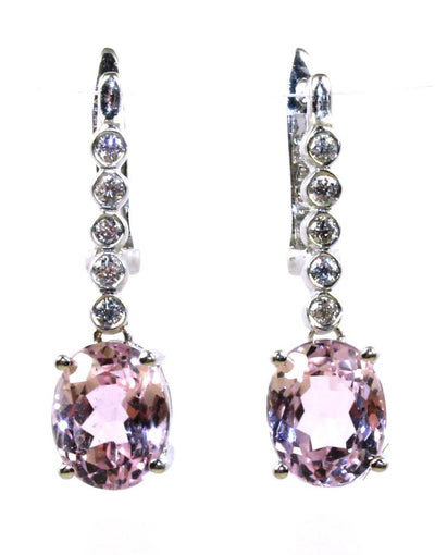 Kunzite and Diamond Drop Earrings