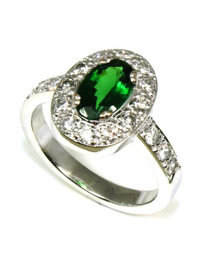 Tsavorite and Diamond Halo Ring, 5698
