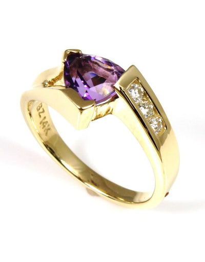 Amethyst Trillion Shape and Diamond Ring, 3460