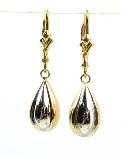 Tear Drop Two-Tone Dangle Earring, 3813