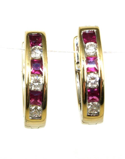 Ruby and Diamond Huggie Hoop Earrings, 6091