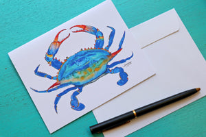 Blue Crab Linen Notecard with Envelope
