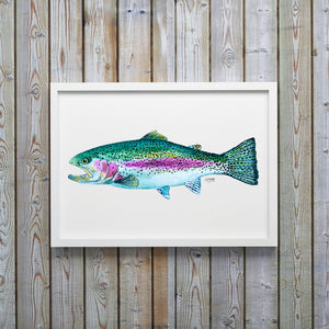 Rainbow Trout Watercolor Art Print, Fish Wall Decor, Fish Print, Coastal Art