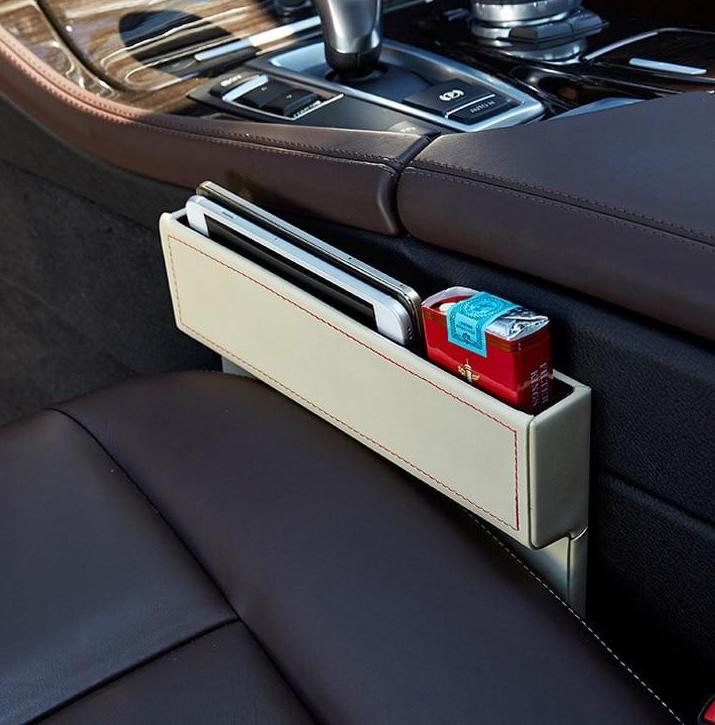 Leather car seat crevice storage box