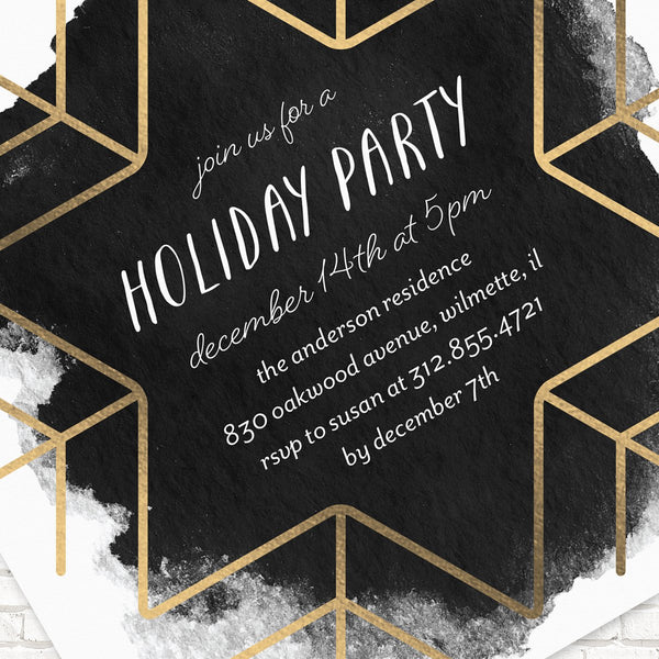 Holiday Party Invitations, Modern Party Invitations, Foil Pressed Holiday Party Invitations