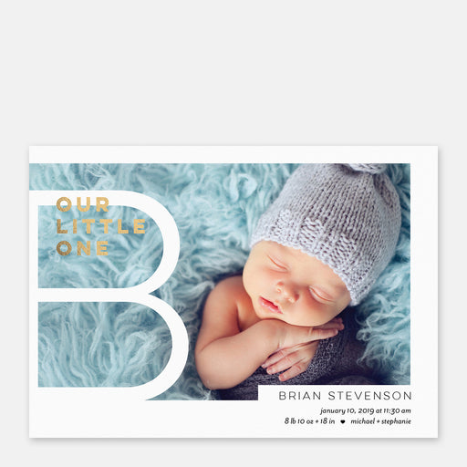 Big Monogram Birth Announcements – Front View