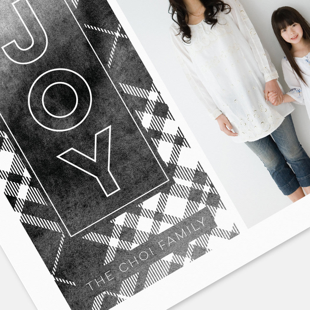 Black Plaid Holiday Cards – Detail View