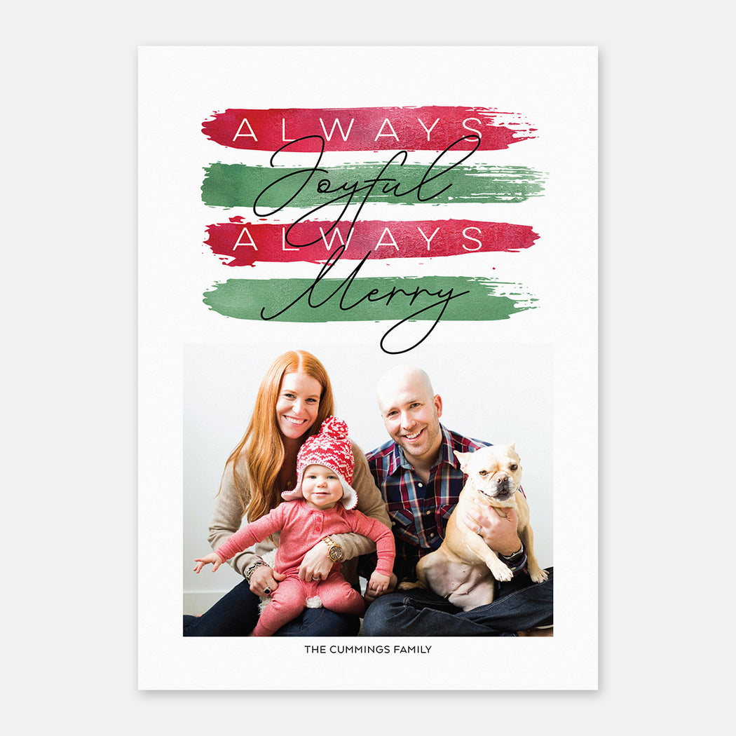 Festive Stripes Holiday Cards – Front View