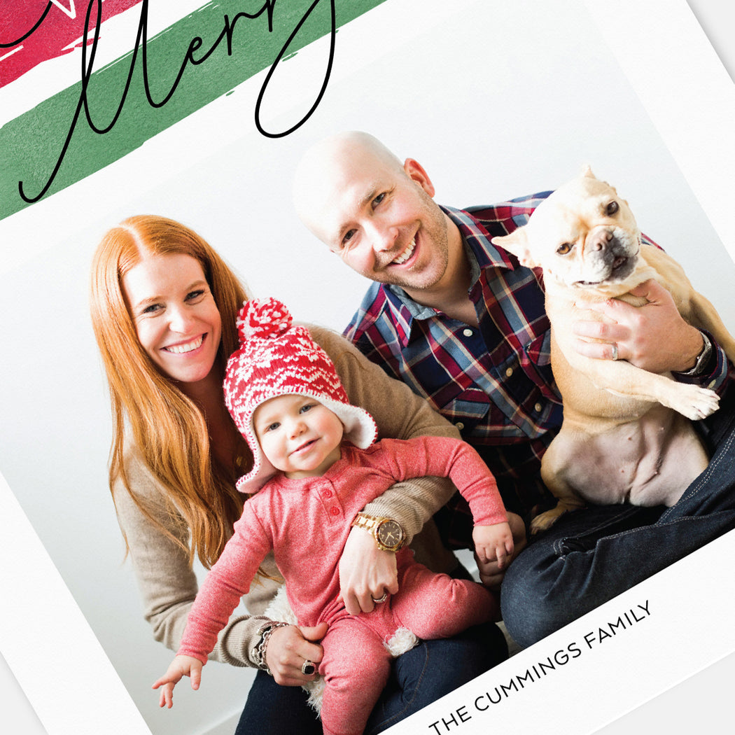 Festive Stripes Holiday Cards – Detail View