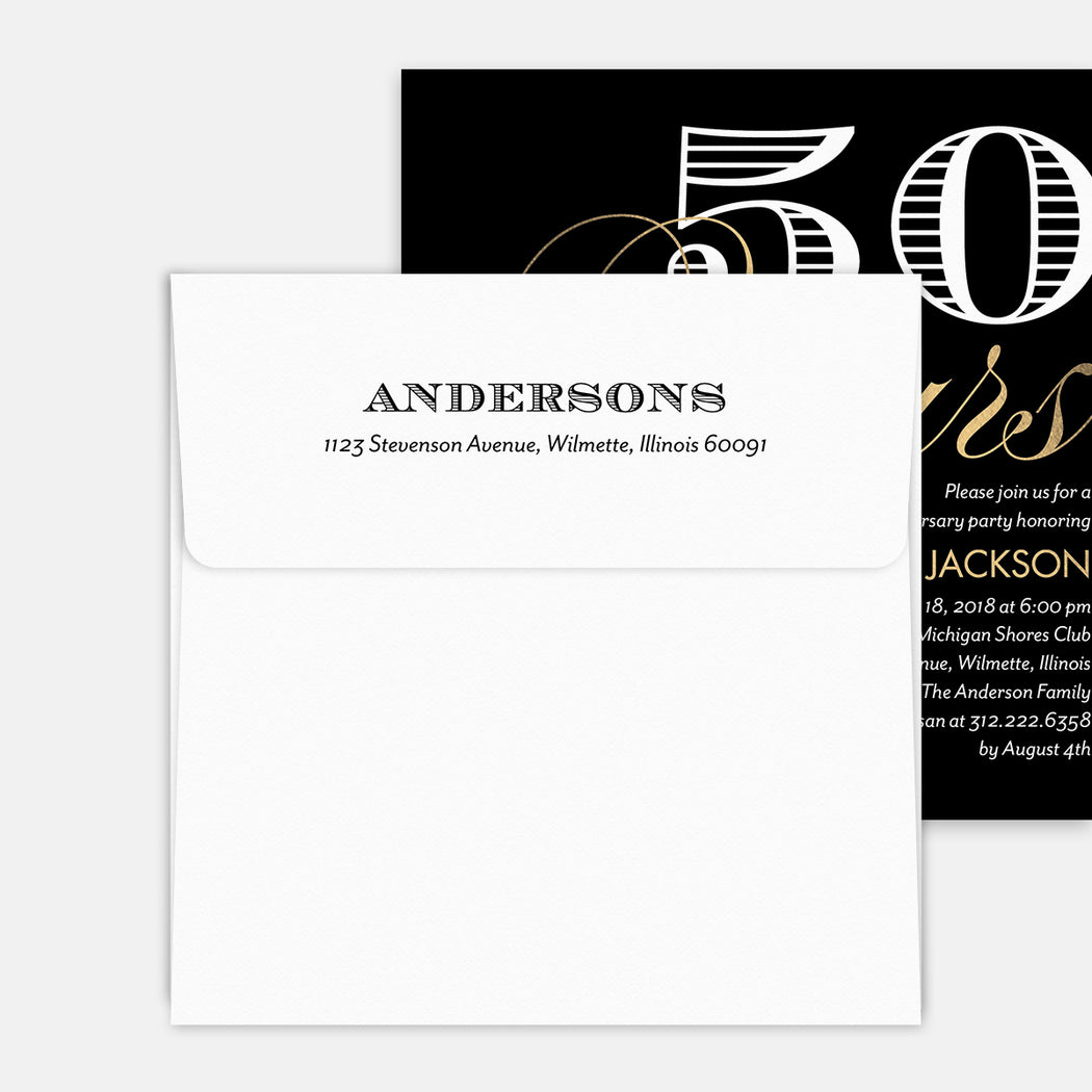 Fifty Years Anniversary Party Invitations – Printed Return Address