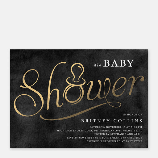 Golden Binky Baby Shower Invitations – Front View
