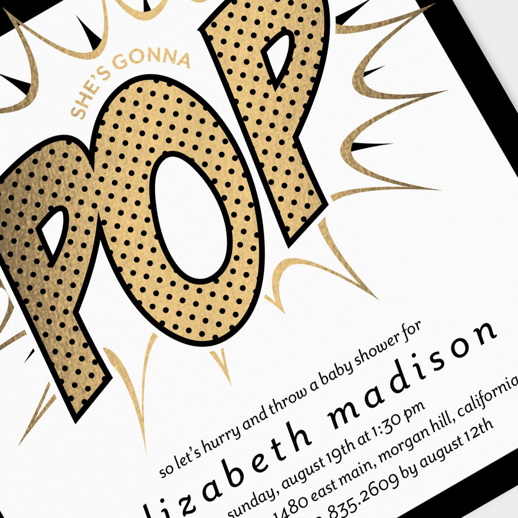 Gonna Pop Baby Shower Invitations – Detail View