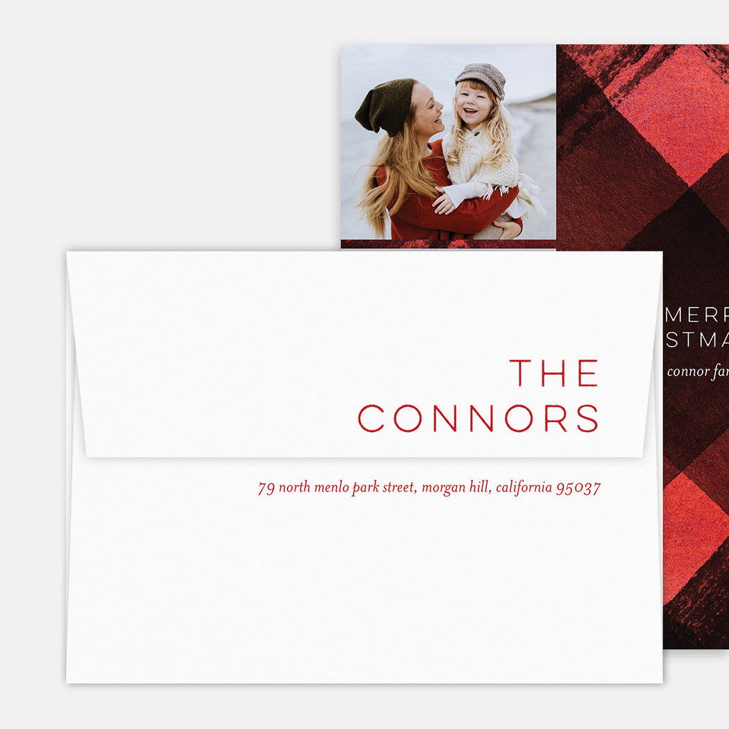 Plaid Accent Holiday Cards – Printed Return Address