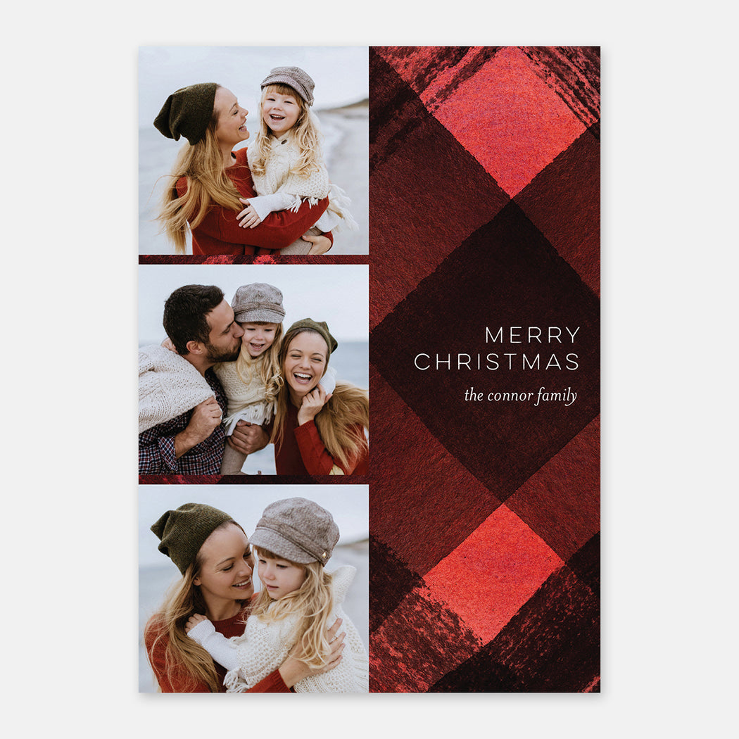Plaid Accent Holiday Cards – Front View