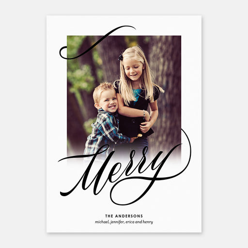 Scripted Merry Holiday Cards – Front View