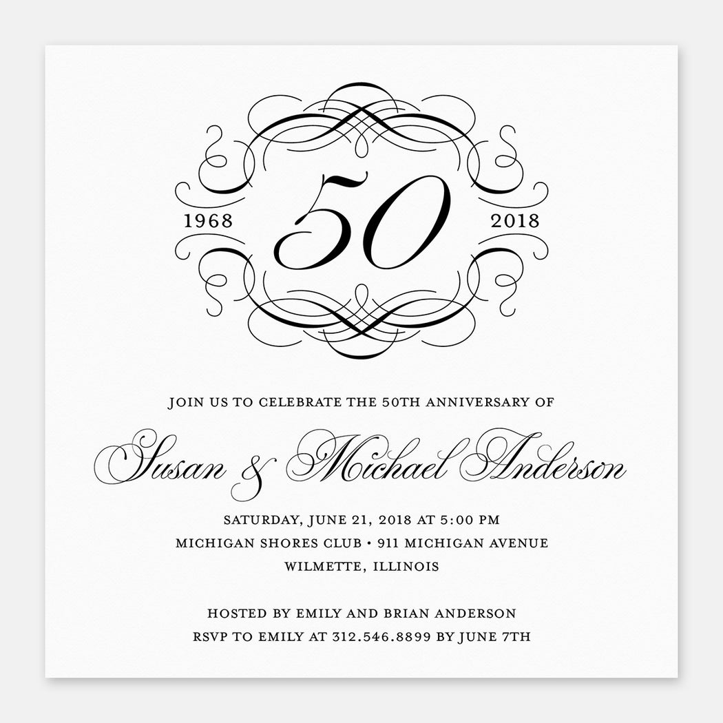 Scroll Crest Anniversary Invitations – Front View