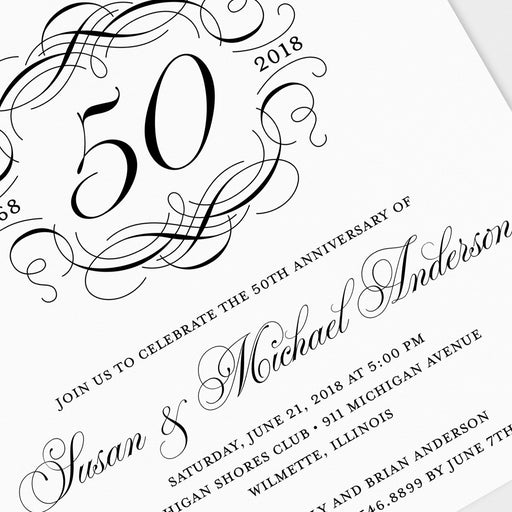 Scroll Crest Anniversary Invitations – Detail View