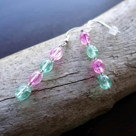 Elegant Glass Bead Earrings | Pink and Green Dangle with Silver Accents