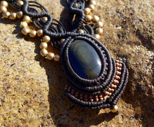 Golden Obsidian Macrame Necklace | Temple Design