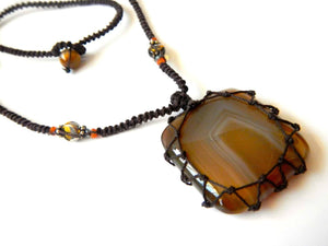 square Agate macrame Necklace – Your Stone For Protection – Bohemian healing crystal- chalcedony